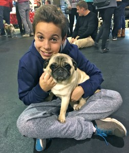 Little boy and his pug at the Pugalug Pug Claus Christmas Party
